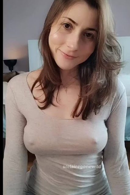 sexy brunette girl braless top big nipples poking