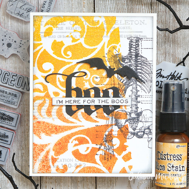 Boo Halloween Card by Juliana Michaels featuring Tim Holtz Ranger Ink Mica Stain