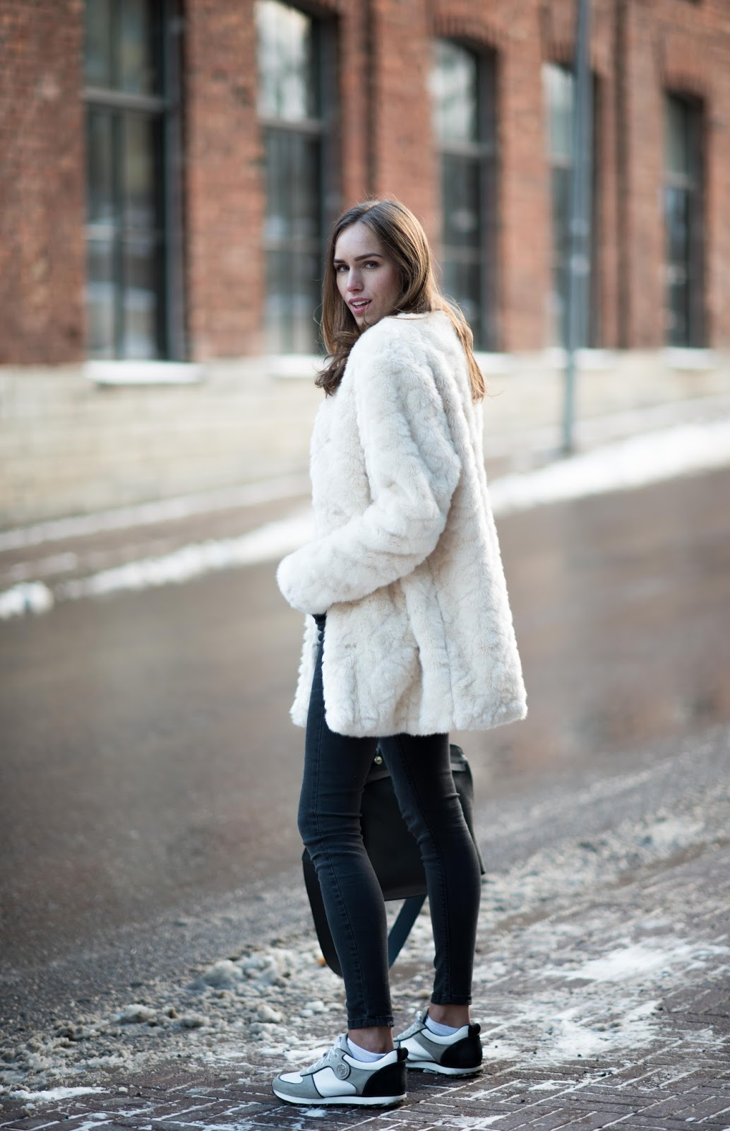 fluffy winter coat outfit