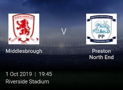 LIVE MATCH: Middlesbrough Vs Preston North End English Championship 01/10/2019