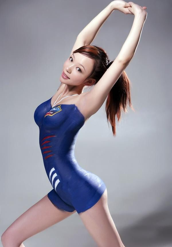 Xyber Bites Hot Asian Girls Body Paint For Football Worldcup-6540