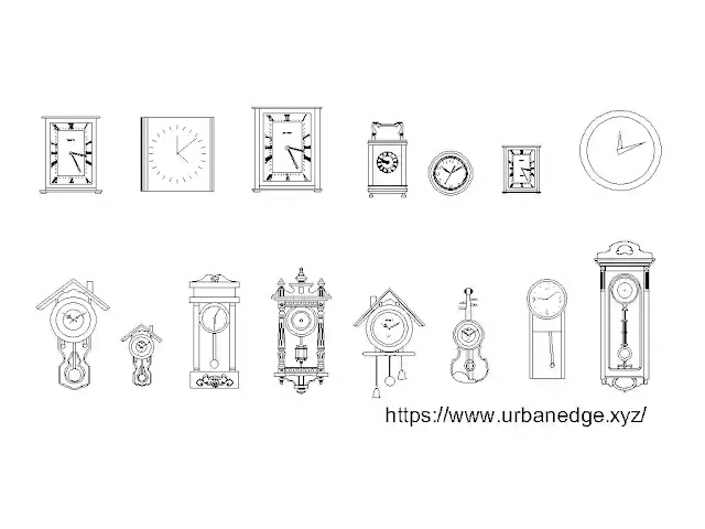 Wall clocks cad blocks download, 15+ wall clock dwg drawing