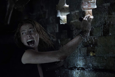 Movie still where Kaya Scodelario's character Haley screams for help in the pouring rain in the 2019 film Crawl