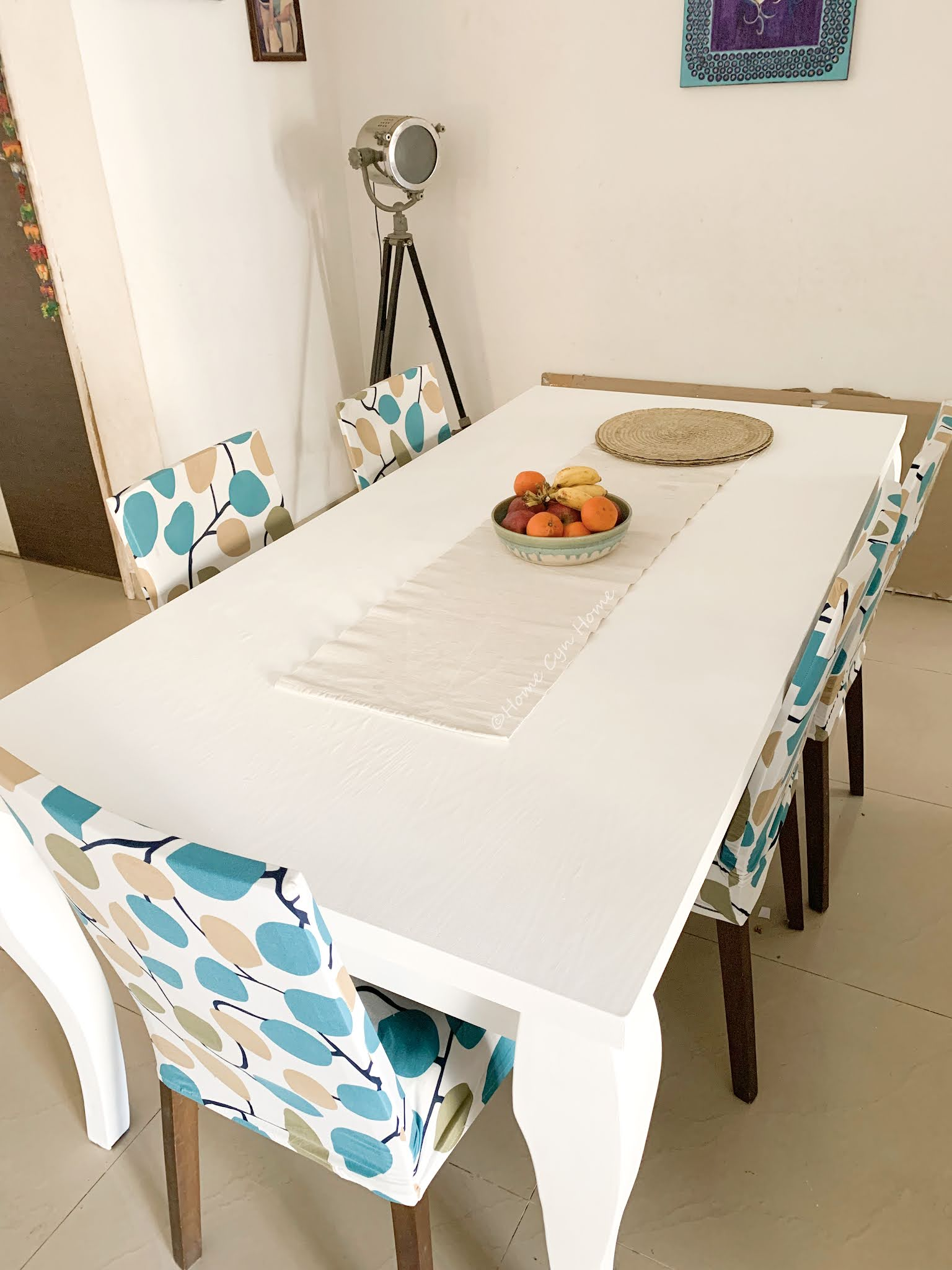 painting an old table with chalk paint for a fresh coastal vibe