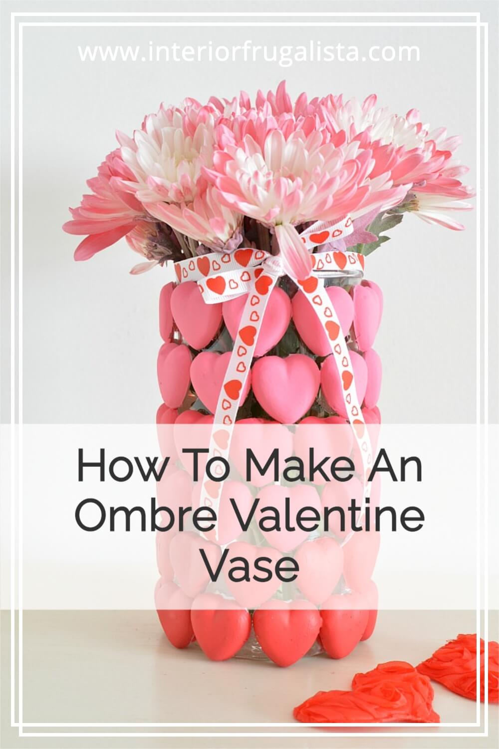How to make a unique and inexpensive DIY Ombre Valentine Flower Vase, Valentine Candle Holder, or Valentine Candy Vase with heart shaped Mod Melts. #diyvalentinesday #valentinecraft #homemadevalentine #modmeltcrafts
