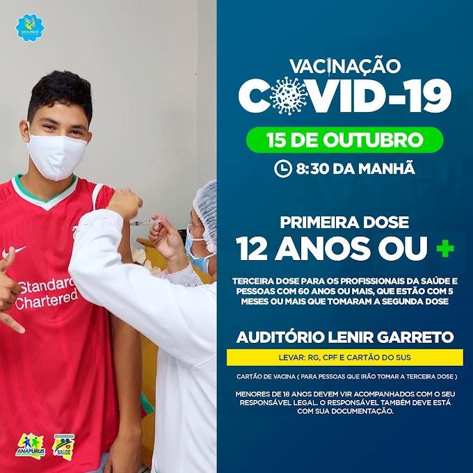Vacina contra Covid-19 Primeira Dose 12 anos ou mais dia 15 de outubro de 2021 em Anapurus - MA