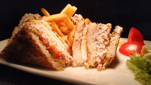 Cutting Non Veg club sandwich with fries Food Recipe Dinner ideas