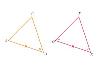 dua sudut yang bersesuain sama besar dan sisi yang menghubungkan kedua sudut sama panjang