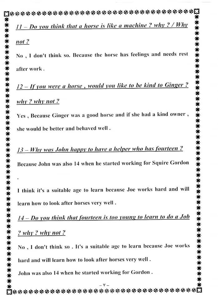 حل اسئلة التفكير النقدي لقصة Black Beauty للصف الثالث الاعدادي 7