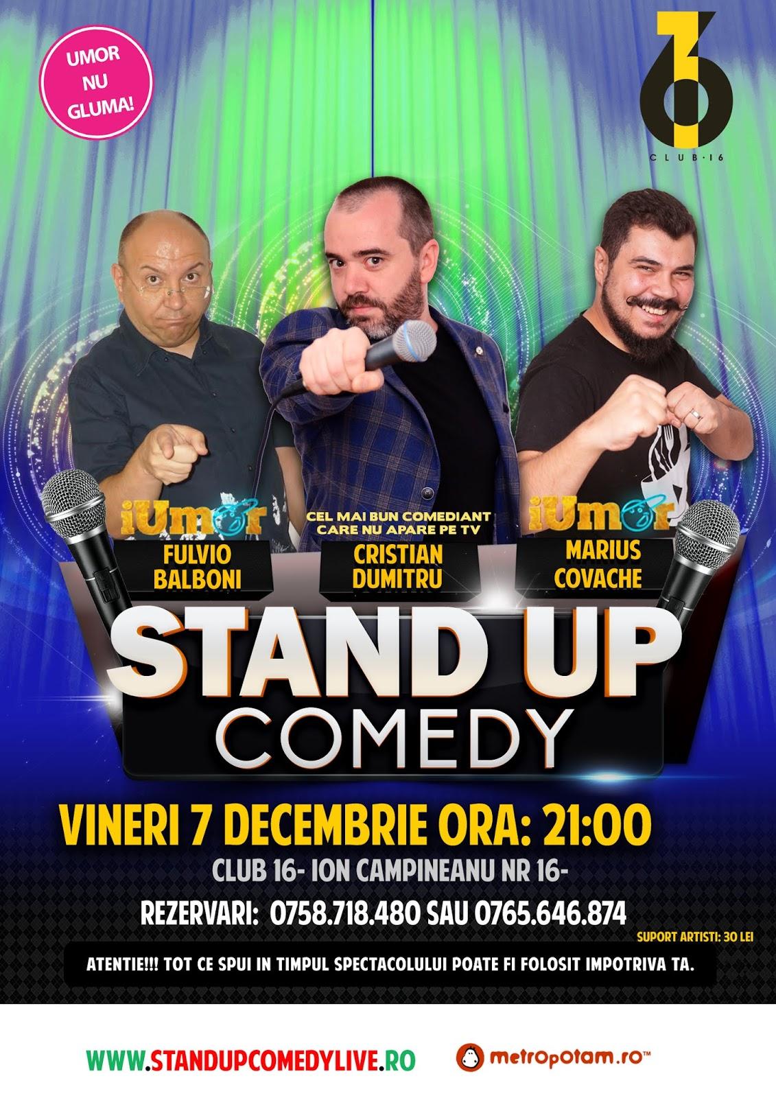 Stand-Up Comedy Bucuresti Vineri 7 Decembrie 2018