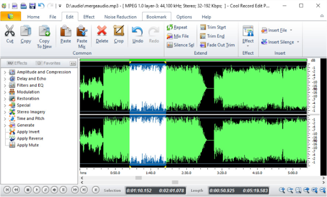 برنامج تعديل الملفات الصوتية Cool Record Edit للكمبيوتر