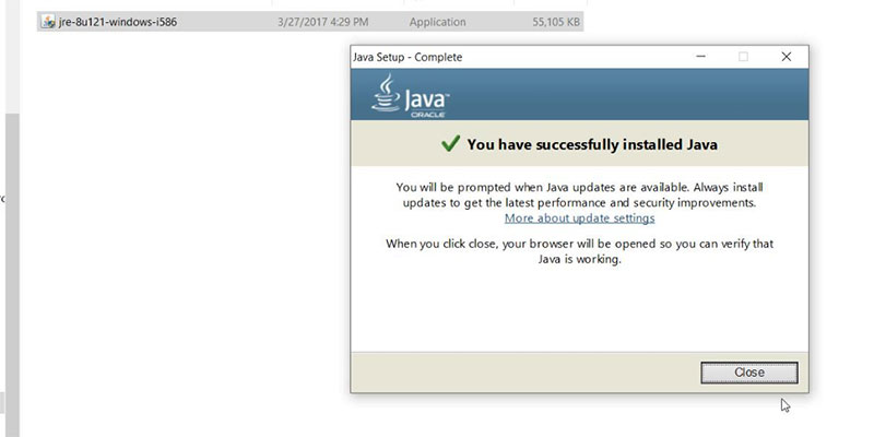 Hình 9. Cài đặt Java 8 thành công