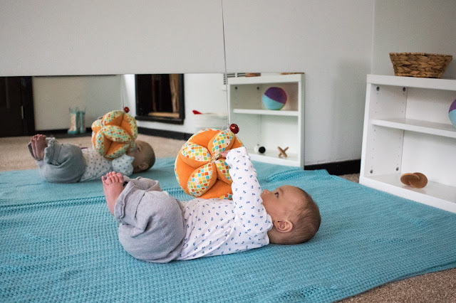 A Montessori puzzle ball is a great toy for babies to explore with their feet and to encourage movement. Montessori babies love the wonderful texture and it makes the perfect tactile mobile.