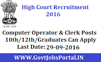 Himachal Pradesh High Court Recruitment 2016 For various Computer Operator, Assistant & Clerk Posts.