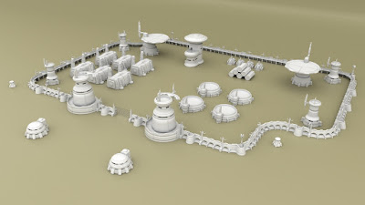 3D Printable Alien Tau-Style Scenery for Tabletop Wargames, Kickstarter from Wulfshéade Miniatures