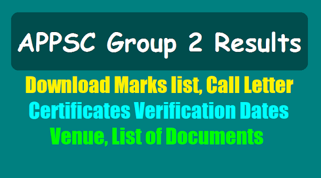 appsc group 2 results marks list,call letter,certificates verification dates,venue,list of documents 2018,appsc group ii final selection list results