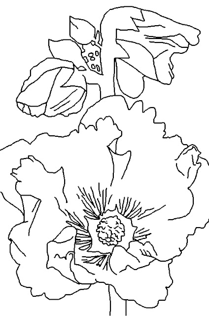 Coloring Page World: Hollyhock (Portrait)