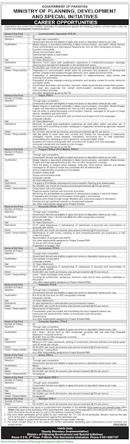 Ministry of Planning Development and Special Initiatives Jobs 2021 Latest Download Application forms