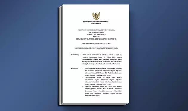 Peraturan Menteri Komunikasi dan Informatika Nomor 20 Tahun 2016 tentang Perlindungan Data Pribadi Dalam Sistem Elektronik