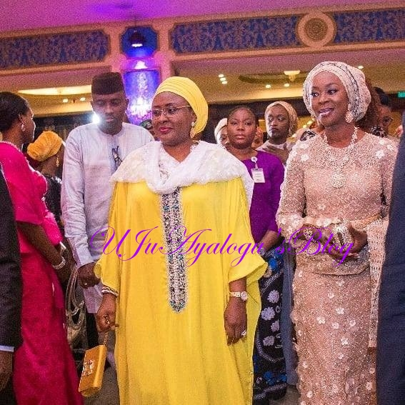 Glamour: Check Out Aisha Buhari's Look to Bukola Saraki's Daughter's Wedding In Abuja (Photos)