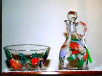 hand painted oil and vinegar cruets in vegetable garden design