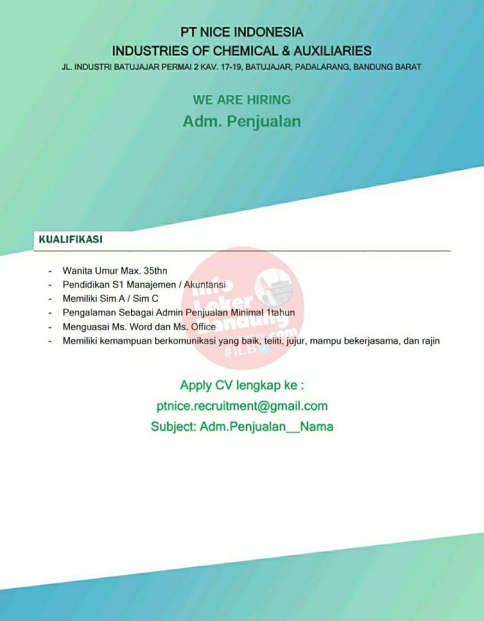 Lowongan Kerja PT. Nice Indonesia Bandung Juni 2021 - Info ...