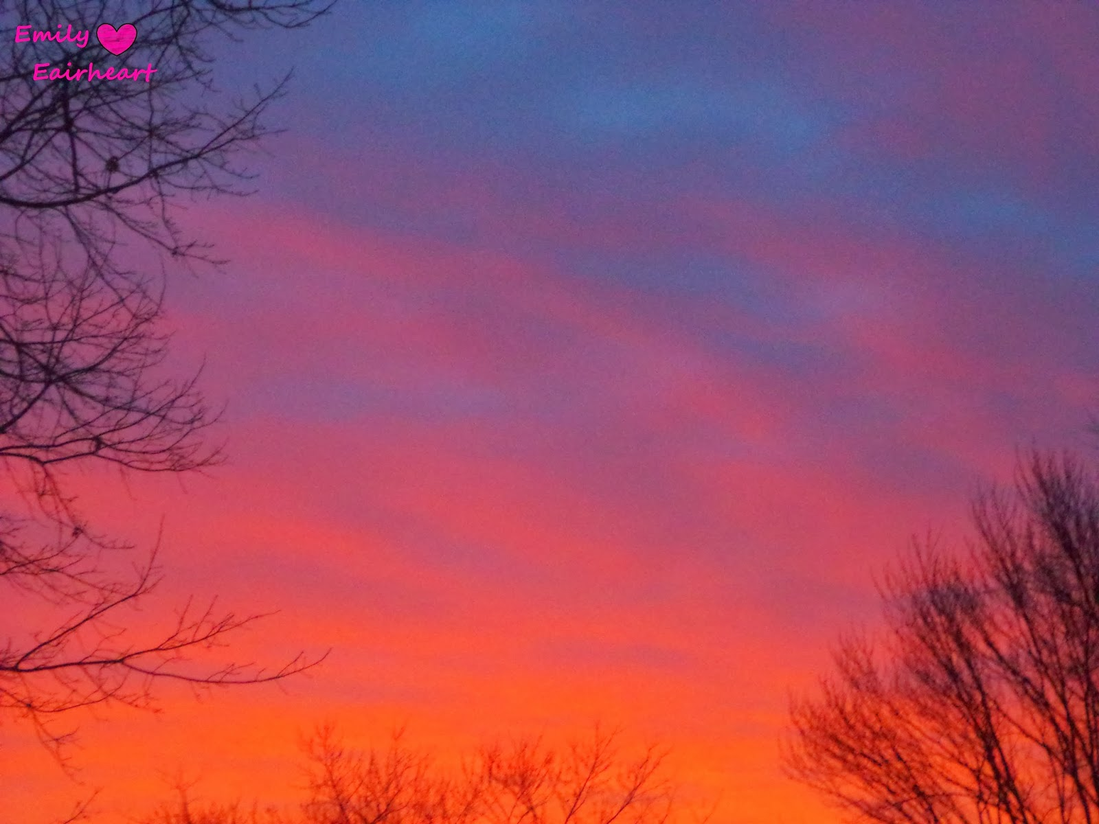 Bright pink and orange clouds.