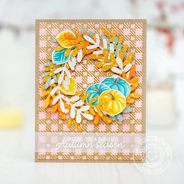 Sunny Studio Stamps: Winter Greenery Crisp Autumn Beautiful Autumn Fall Themed Card by Mona Toth