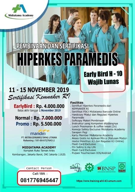 Hiperkes Paramedis murah tgl. 11-15 November 2019 di Jakarta