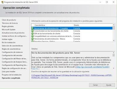 Instalación completa de SQL Server 2014.