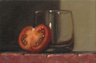 Still life oil painting of half a tomato resting against an old fashioned glass.