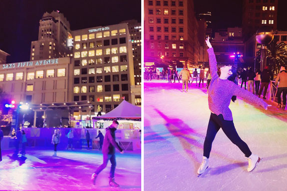 Christmas in San Francisco: one of the city's best and most popular outdoor ice skating rinks is at Union Square