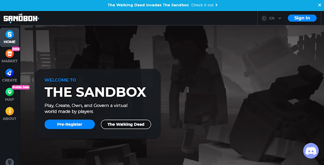Screenshot Halaman Website The Sandbox