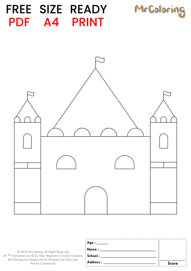 sand castle coloring pages flat round for kids