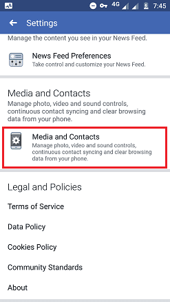 facebook app media and contacts