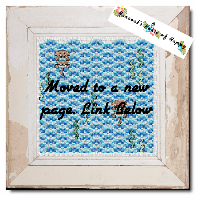 free cross stitch pattern of cute otters in the sea