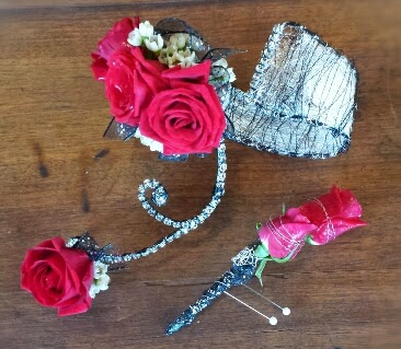 Wire wrist corsage with matching Boutonniere- Prom '15 wrap up - roses