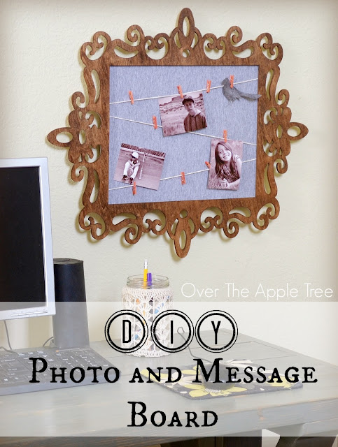 Use a laser cut wood frame to create a photo and message board for your office. By Over The Apple Tree