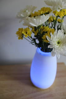 blue light up vase