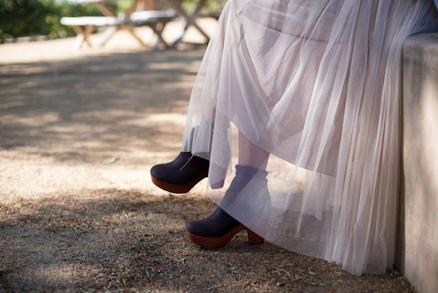 clog booties and full skirt