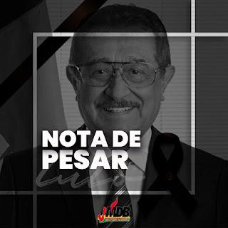 Em nota o presidente da Juventude MDB, vereador Ramon Menezes em nota lamentou a morte do senador José Maranhão