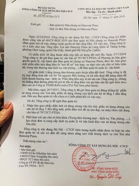 Công văn 1548/PTDA-TCT Tổng Công ty xây dựng Hà Nội