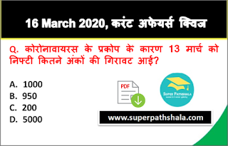 Daily Current Affairs Quiz in Hindi 16 March 2020