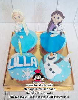 Cupcake Frozen Elsa, Anna dan Olaf