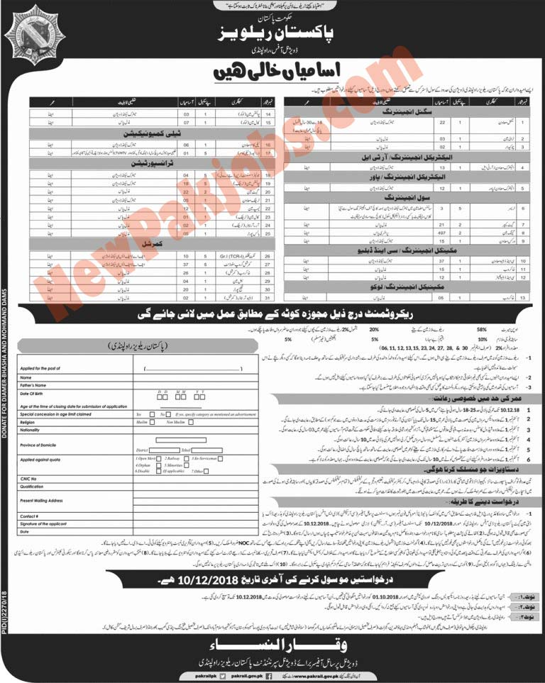 Pakistan Railways Jobs Advertisement for Rawalpindi Nov 2018