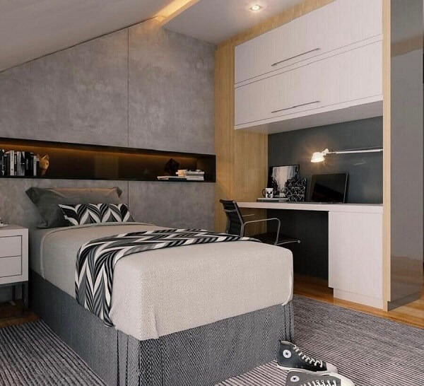 Modern decoration with burnt cement wall and boxed widow's bed