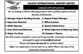Latest Jobs in Sialkot International Airport SIA 2021 -Application Form Download