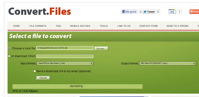 convertir cv pdf en odt