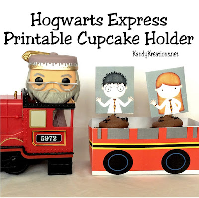 Ride the Hogwarts Express for some yummy cupcakes to enjoy with your Hogwarts classmates.  This free printable cupcake holder and cupcake toppers are the perfect addition to any Harry Potter party.  You can add your cupcakes and enjoy the ride to some magical party fun!
