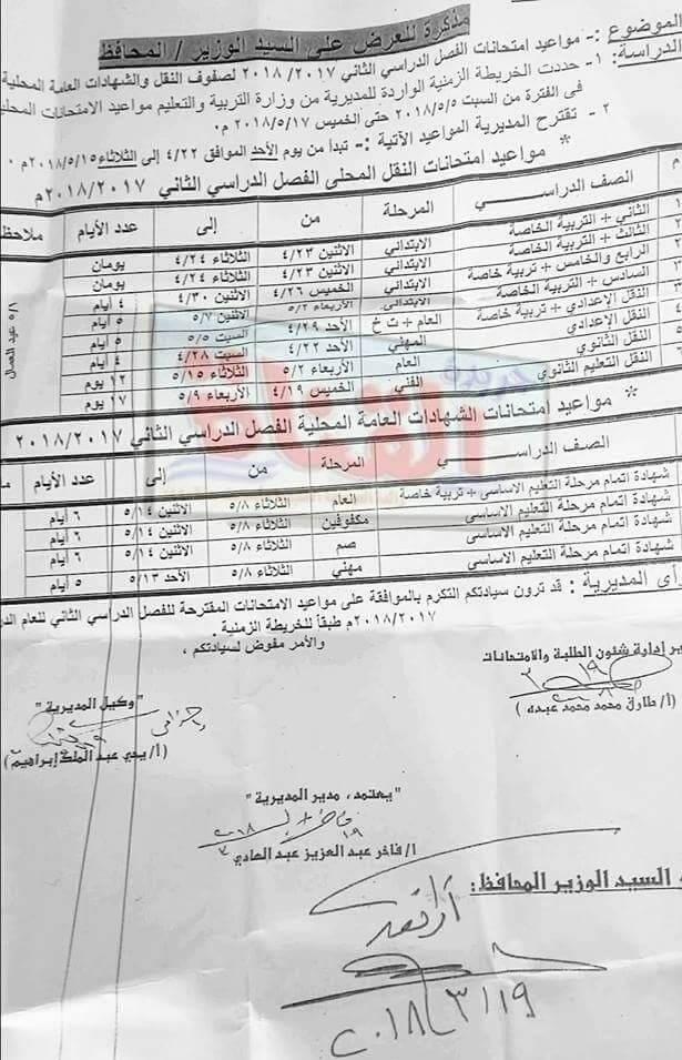 جدول امتحانات الصف الأول الاعدادي 2018 الترم الثاني محافظة الاسماعيليه
